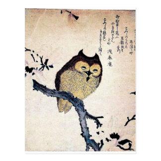 JAPANESE OWL WOODCUT ART POSTCARD