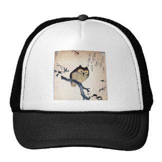 JAPANESE OWL WOODCUT ART TRUCKER HAT
