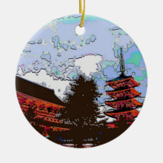 Japanese Pagoda Round Ceramic Ornament