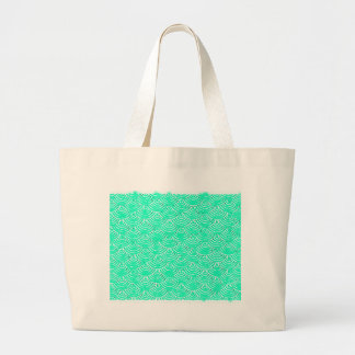 Japanese Pattern in Green Large Tote Bag