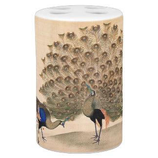 Japanese Peacock Birds Animals Bath Set