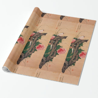Japanese peony art wrapping paper