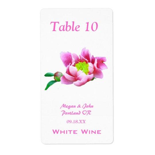 Japanese Peony Wedding Wine Label Shipping Label