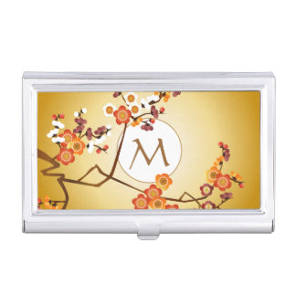 Japanese Plum Blossoms Moon Gold Orange Red Branch Business Card Holder
