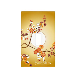 Japanese Plum Blossoms Moon Gold Orange Red Branch Light Switch Cover