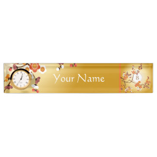 Japanese Plum Blossoms Moon Gold Orange Red Branch Nameplate