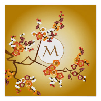 Japanese Plum Blossoms Moon Gold Orange Red Branch Poster