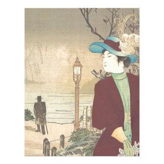 Japanese Polychrome woodblock print Letterhead