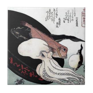 Japanese Print Octopus Fish Woodblock Tile