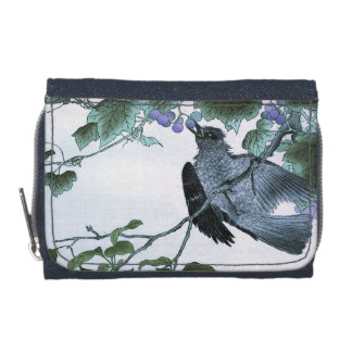 Japanese Print of a Bird eating Grapes Wallets