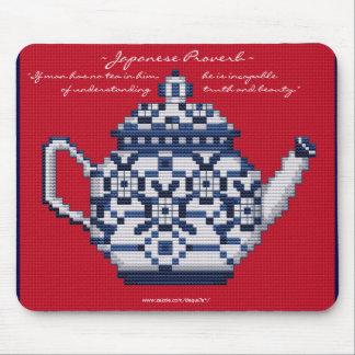 JAPANESE PROVERB TEA POT Cross Stitch Style Design Mouse Pad