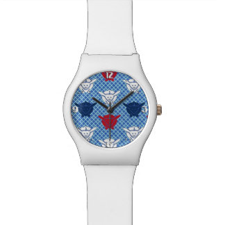 Japanese rabbit print, blue with red and white wrist watch