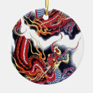 Japanese Red Dragon Round Ceramic Ornament
