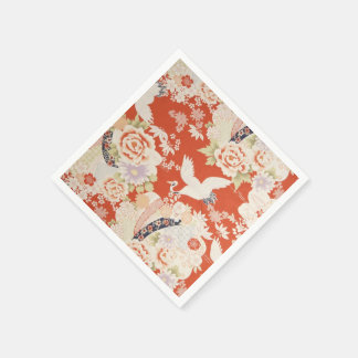 Japanese Red Kimono Crane Pattern Sakura Flowers Disposable Napkin