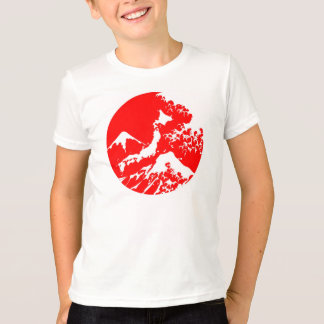 Japanese Red Mount fuji wave print Shirt