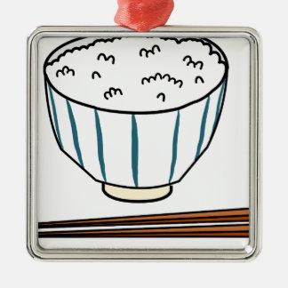 Japanese Rice Bowl Metal Ornament
