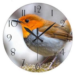 Japanese Robin Large Clock