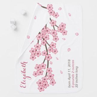 Japanese Sakura Cherry Blossom Branch Custom Name Baby Blanket