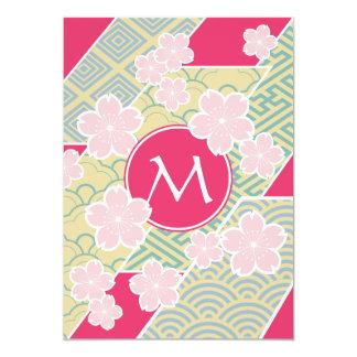 Japanese Sakura Cherry Blossoms Geometric Patterns Card
