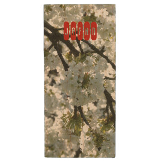 Japanese Sakura. Cherry Blossoms. Spring. Wood USB Flash Drive