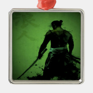Japanese Samurai Silver-Colored Square Ornament