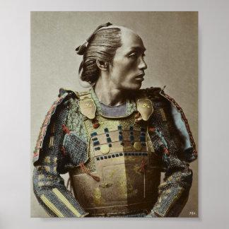 Japanese Samurai Vintage Photo Hand colored Poster