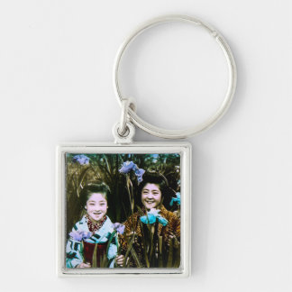 Japanese School Girls in the Garden Vintage Silver-Colored Square Keychain
