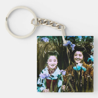 Japanese School Girls in the Garden Vintage Single-Sided Square Acrylic Keychain