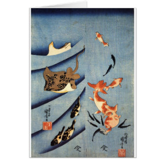 Japanese Sea Life, Ancient Japanese art. c. 1800's Card