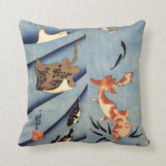 Japanese Sea Life, Ancient Japanese art. c. 1800's Throw Pillow