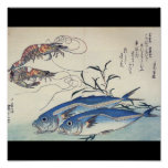 Japanese Sea Life Painting circa 1800's Poster