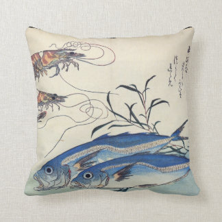Japanese Sea Life Painting circa 1800's Throw Pillow