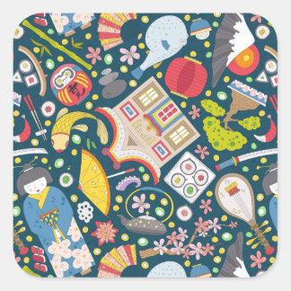 Japanese Seamless Pattern Square Sticker