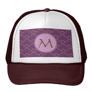 Japanese Seigaiha Scallop Purple Gold Pink Orient Mesh Hat