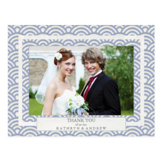 Japanese Seigaiha Wedding Thank You/Custom Photo Postcard