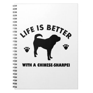 Japanese shar pei dog spiral notebooks