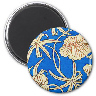 Japanese silk fabric - blue and beige 2 inch round magnet