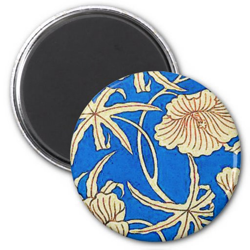 Japanese silk fabric - blue and beige refrigerator magnets
