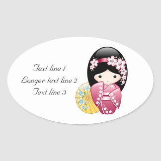 Japanese Spring Kokeshi Doll Oval Sticker