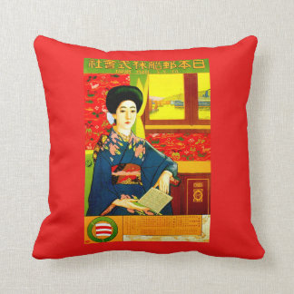 Japanese Steamship Travel Poster Throw Pillow