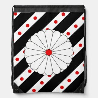 Japanese stripes flag drawstring bag