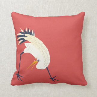 Japanese Style Crane on Red Background Throw Pillow
