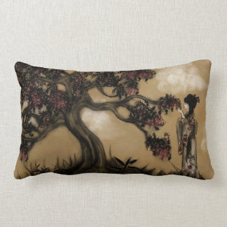 Japanese Style Geisha and Blossoming Tree Lumbar Pillow