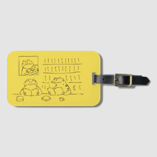 Japanese-style name tag: Fuji and book-reading Bag Tag