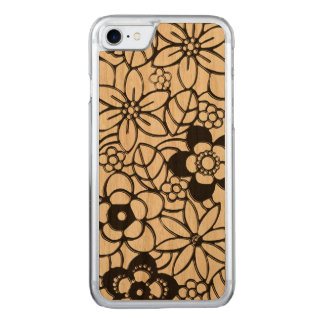 Japanese style rich floral pattern carved iPhone 7 case