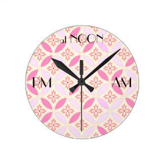 Japanese-style Shippo Pink wall clock