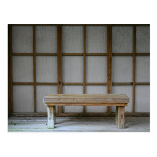 Japanese style tea house bench postcard