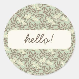 Japanese Style Vine pattern Round Sticker