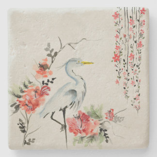Japanese Style Watercolor Crane and Flowers Stone Beverage Coaster