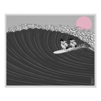 japanese sunset surf poster